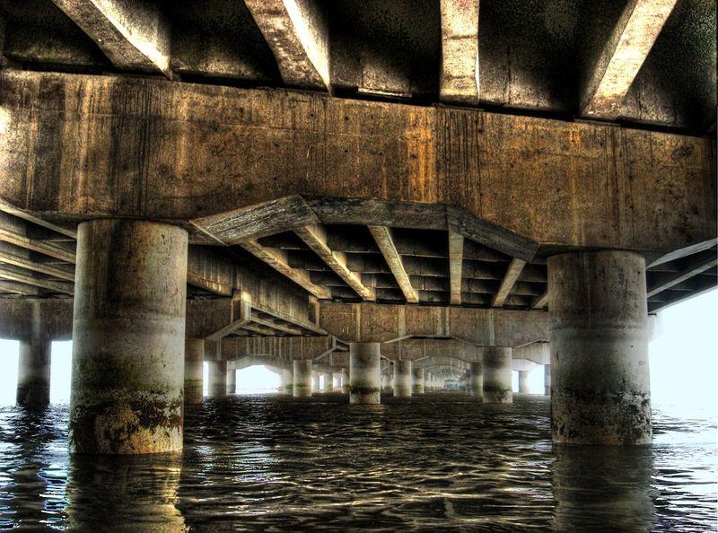 Down the bridge